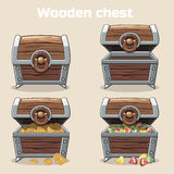 Opened and closed antique treasure chest. With coins and diamonds, set icons 3, game and UI elements Stock Images