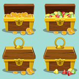 Opened and closed antique treasure chest Stock Images