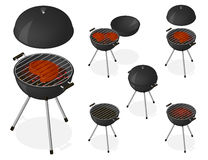 Opened and closed barbecue grill set. BBQ. Opened and closed barbecue grill set. Roast beef steak on charcoal. Sear meat. Cooking. Isometric vector illustration Royalty Free Stock Photography