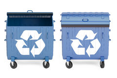 Opened and closed blue garbage containers, 3D rendering Stock Image