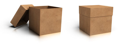 Opened and closed boxes royalty free illustration