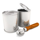 Opened and closed cans with opening tool isolated royalty free illustration