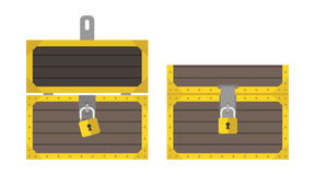 Opened and closed chest. S with padlocks, front view, isolated on white background. Flat design. Vector illustration. EPS 8, no transparency Stock Images