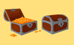 Opened and closed chests with treasure Stock Image