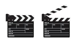 Opened and closed Cinema or film clapper. Illustrated vector. Opened and closed Cinema or film clapper. Flat and solid color Illustrated vector Stock Photos