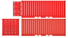 Opened and closed container front and side view. Opened and closed container isolated on white background, front and side view Stock Image