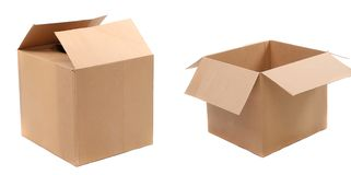 Opened and closed corrugated cardboard boxes Royalty Free Stock Photo