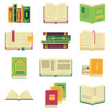 Opened and closed different books and magazines or encyclopedias. Vector pictures in cartoon style stock illustration