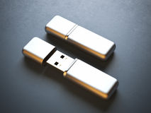 Opened and closed flash drives Stock Image