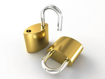 Opened and closed lock Stock Photo