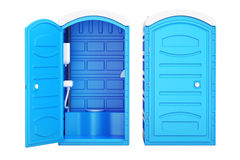 Opened and closed mobile portable blue plastic toilets, 3D rendering. Opened and closed mobile portable blue plastic toilets, 3D vector illustration