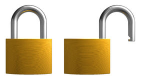 Opened and closed padlocks Stock Photo