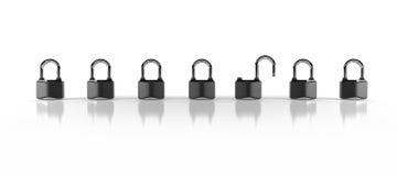Opened and closed padlocks. On white Stock Photo
