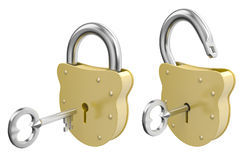Opened and Closed padlocks with keys Stock Image
