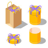 Opened and closed present gift cylinder boxes Stock Photos