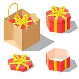 Opened and closed present gift hexagonal boxes. Opened and closed present and gift hexagonal shaped boxes with ribbon bow isolated on white background. Gift in Royalty Free Stock Photography