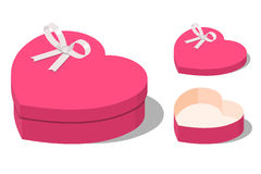 Opened and closed present heart shaped gift boxes Stock Photo