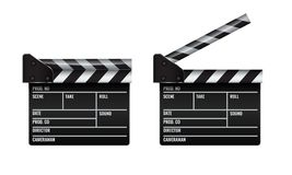 Opened and closed realistic Cinema or film clapper. Illustrated vector. Opened and closed realistic Cinema or film clapper. High detailed Illustrated vector Royalty Free Stock Images