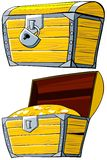 Opened and closed treasure Chest. Cartoon illustration of opened and closed treasure Chest on a white background Stock Image
