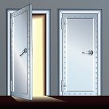 Opened and Closed Vault Door. Vector Illustration Stock Photos