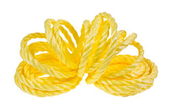 Opened coil of yellow rope Royalty Free Stock Image