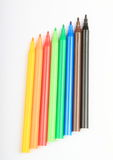Opened colorful pencils Royalty Free Stock Images