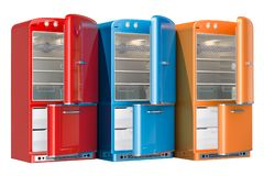 Opened coloriu refrigeradores, projeto retro rendição 3d ilustração royalty free