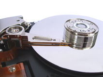 Opened computer hard disk drive isolated on white Royalty Free Stock Images