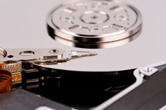 Opened computer hard drive closeup top view photo Royalty Free Stock Photo