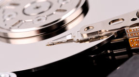 Opened computer hard drive closeup top view photo Royalty Free Stock Photography