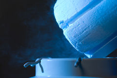 Opened container with liquid. Nitrogen, close up royalty free stock photos