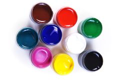 Opened containers with paint of different colours Royalty Free Stock Photo