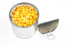 Opened corn can Royalty Free Stock Image