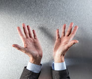 Opened corporate or politician man hands showing transparency or openness Royalty Free Stock Images