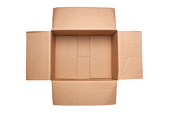 Opened corrugated cardboard box Royalty Free Stock Photo