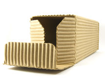 Opened crinkled cardboard box Stock Images
