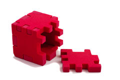 Opened cube puzzle. Concept of problem solved. Stock Image