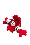 Opened cube puzzle and lucky dice. Stock Images