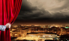 Opened curtain Stock Image