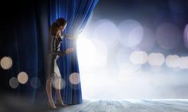 Opened curtain Stock Image