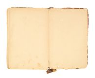 Opened decrepit old book isolated Stock Image