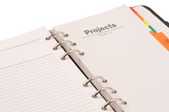 Opened diary.. Projects section on white background Royalty Free Stock Photography
