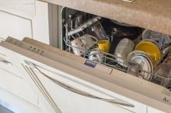 Opened dishwasher Royalty Free Stock Images