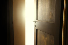 Opened door. Detail of a opened door stock photography
