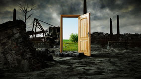 Free Opened Door. A Portal Between Nature And Ecological Catastrophe, Apocalypse. 3d Rendering. Stock Photos - 89365103