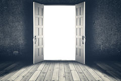 Opened door. Abstract interior backgrounds. With wooden floor and concrete wall Royalty Free Stock Image