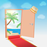 Opened Door Beach Background Travel Vector Stock Photo