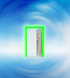 Opened door in blue sky wind vortex Stock Images