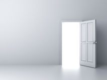 Opened door with bright light on empty white wall vector illustration