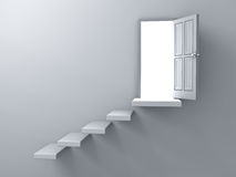 Opened door with bright light and stair on empty white wall background with shadow royalty free illustration